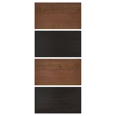 MEHAMN 4 paneler till ram för skjutdörr, svartbrunlaserad askeffekt/brunlaserat askmönster, 100x236 cm