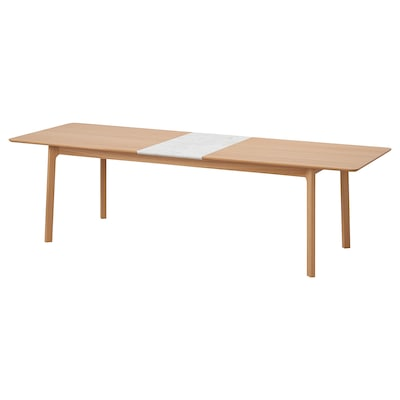 MELLANSEL Utdragbart bord, ekfaner/vit marmormönstrad, 220/270x95 cm