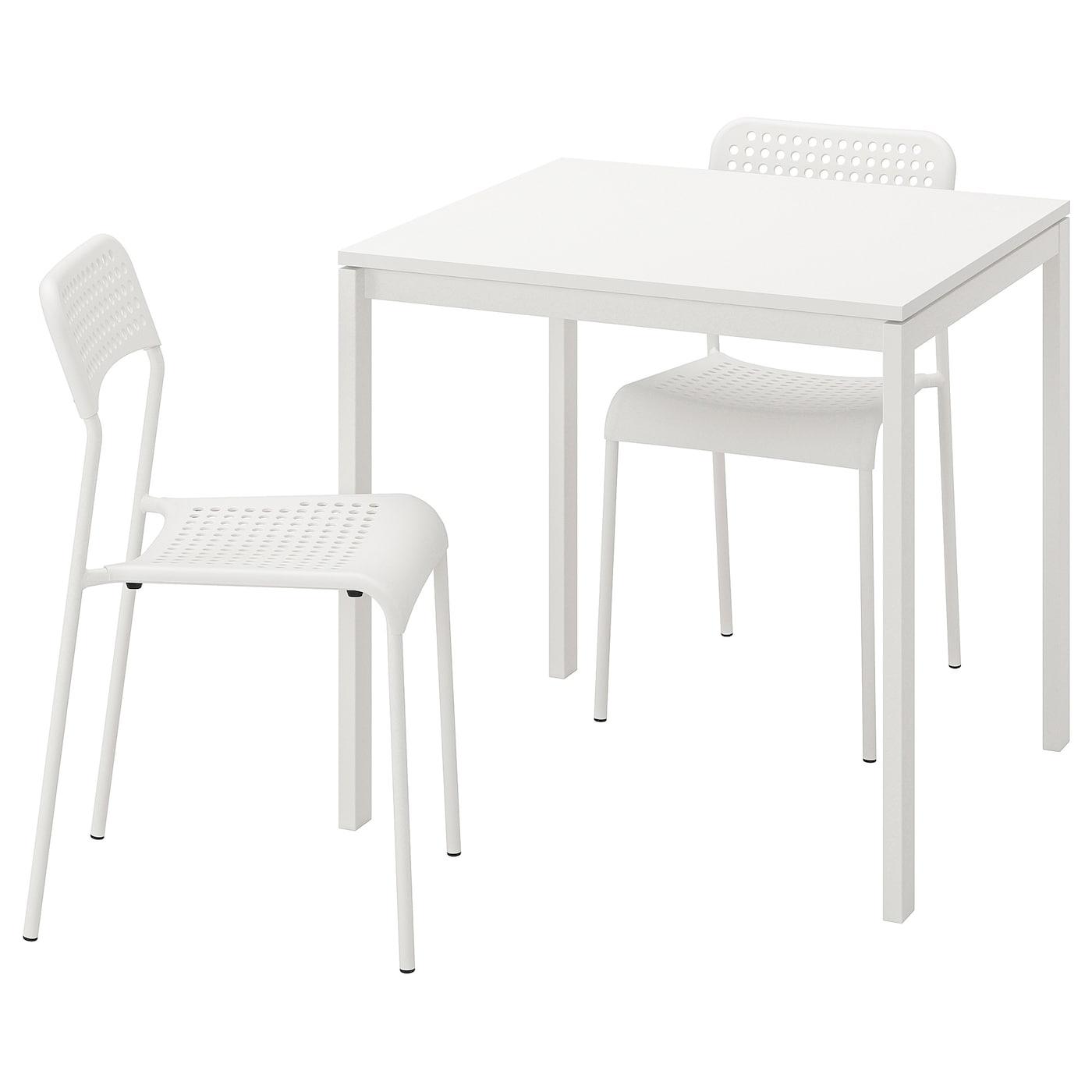 MELLTORP ADDE Bord och 2 stolar vit 75 cm
