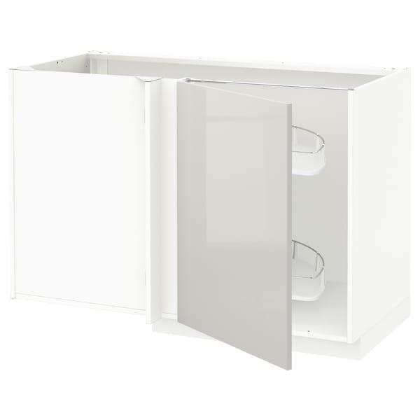 METOD Bänkhörnskåp m utdragbar inredning, vit/Ringhult ljusgrå, 128x68 cm