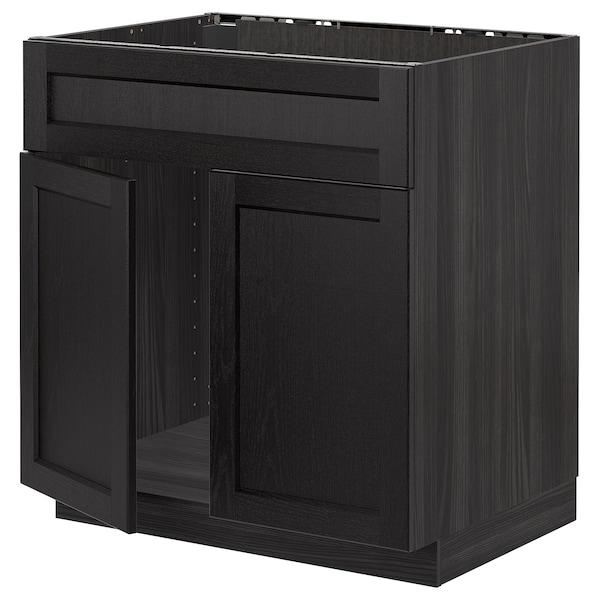 METOD Bänksk f diskbänk m 2 dörrar/front, svart/Lerhyttan svartlaserad, 80x60 cm
