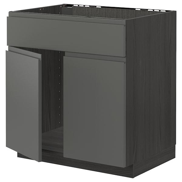 METOD Bänksk f diskbänk m 2 dörrar/front, svart/Voxtorp mörkgrå, 80x60 cm