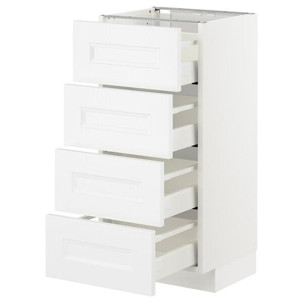 METOD Bänksk m 4 fronter/4 lådor, vit/Axstad matt vit, 40x37 cm