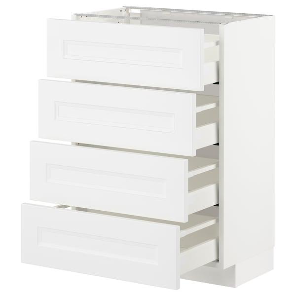METOD Bänksk m 4 fronter/4 lådor, vit/Axstad matt vit, 60x37 cm