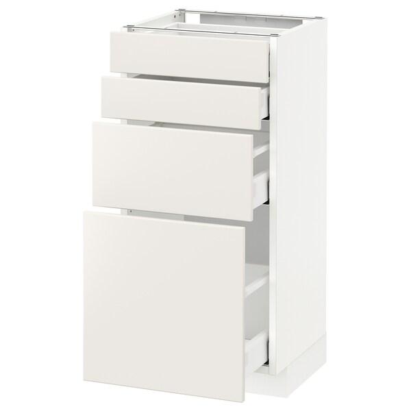 METOD Bänksk m 4 fronter/4 lådor, vit/Veddinge vit, 40x37 cm