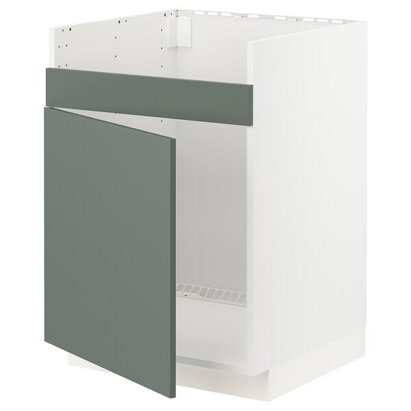 METOD Bänkskåp f diskhon HAVSEN m 1 ho, vit/Bodarp grågrön, 60x60 cm