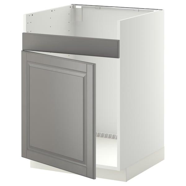 METOD Bänkskåp f diskhon HAVSEN m 1 ho, vit/Bodbyn grå, 60x60 cm