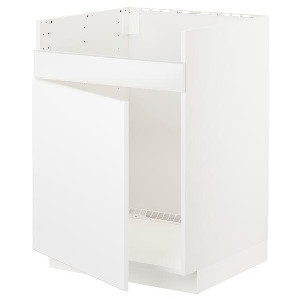 METOD Bänkskåp f diskhon HAVSEN m 1 ho, vit/Kungsbacka matt vit, 60x60 cm