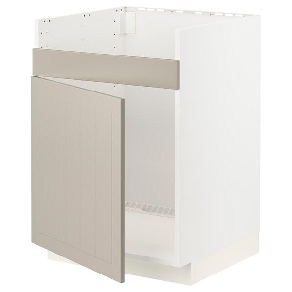 METOD Bänkskåp f diskhon HAVSEN m 1 ho, vit/Stensund beige, 60x60 cm