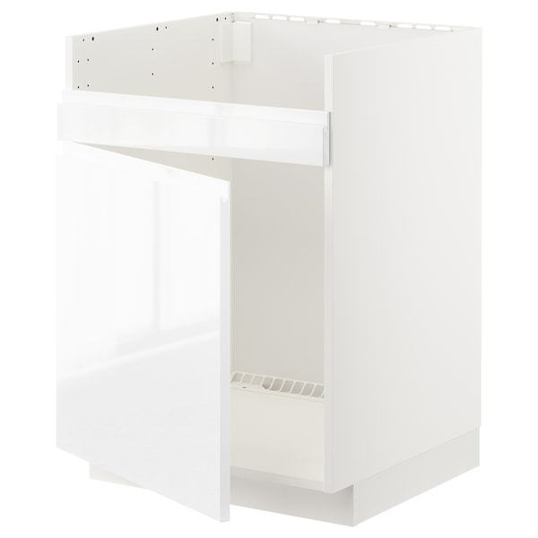 METOD Bänkskåp f diskhon HAVSEN m 1 ho, vit/Voxtorp högglans/vit, 60x60 cm