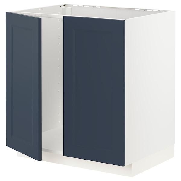 METOD Bänkskåp för diskbänk + 2 dörrar, vit Axstad/matt yta blå, 80x60 cm