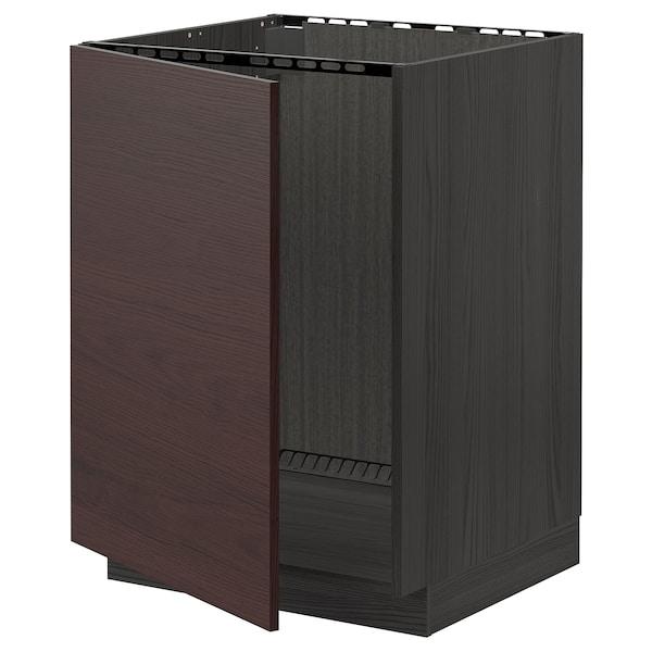 METOD Bänkskåp för diskbänk, svart Askersund/mörkbrun askmönstrad, 60x60 cm