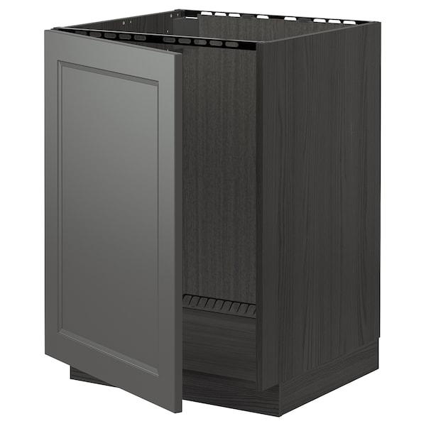 METOD Bänkskåp för diskbänk, svart/Axstad mörkgrå, 60x60 cm