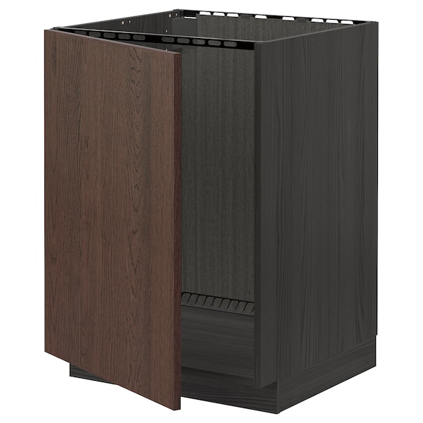 METOD Bänkskåp för diskbänk, svart/Sinarp brun, 60x60 cm