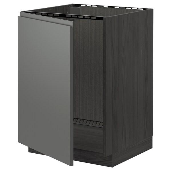 METOD Bänkskåp för diskbänk, svart/Voxtorp mörkgrå, 60x60 cm