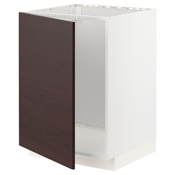 METOD Bänkskåp för diskbänk, vit Askersund/mörkbrun askmönstrad, 60x60 cm