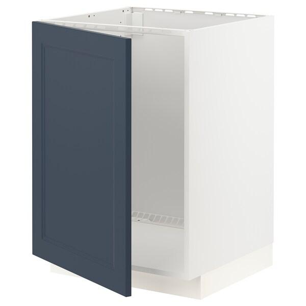 METOD Bänkskåp för diskbänk, vit Axstad/matt yta blå, 60x60 cm
