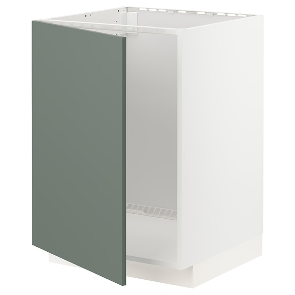 METOD Bänkskåp för diskbänk, vit/Bodarp grågrön, 60x60 cm
