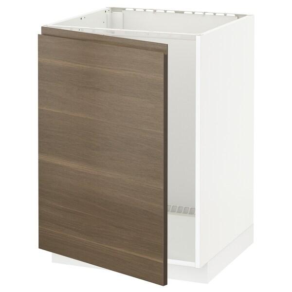 METOD Bänkskåp för diskbänk, vit/Voxtorp valnötsmönstrad, 60x60 cm