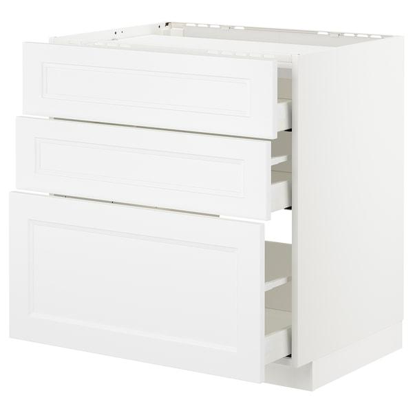 METOD Bänkskåp för häll/3 frntr/3 lådor, vit/Axstad matt vit, 80x60 cm