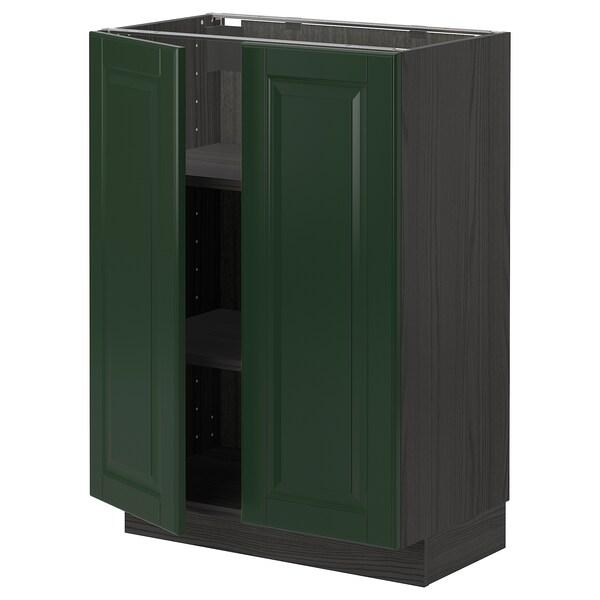 METOD Bänkskåp med hyllplan/2 dörrar, svart/Bodbyn mörkgrön, 60x37 cm