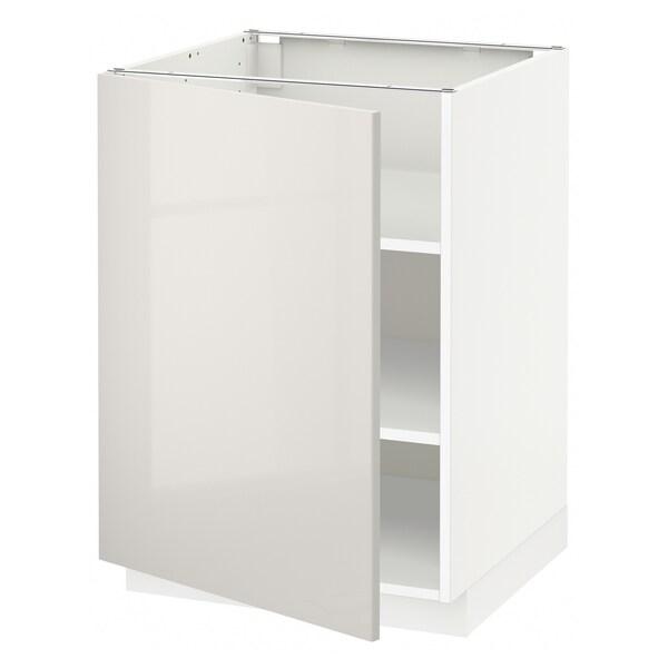 METOD Bänkskåp med hyllplan, vit/Ringhult ljusgrå, 60x60 cm