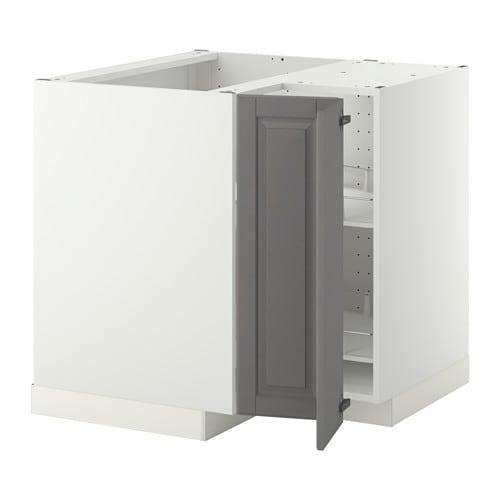 METOD Bänkhörnskåp med karusell - vit, Bodbyn grå - IKEA