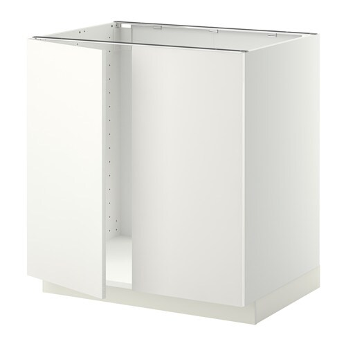 METOD Bänkskåp för diskbänk + 2 dörrar, vit, Häggeby vit