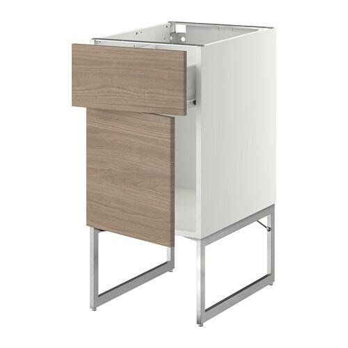 METOD FÖRVARA Bänkskåp med låda dörr vit, Brokhult valnötsmönstrad ljusgrå, 40x60x60 cm IKEA