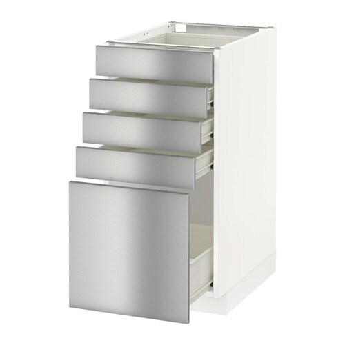 METOD FÖRVARA Bänkskåp med 5 lådor vit, Grevsta rostfritt stål, 40×60 cm IKEA