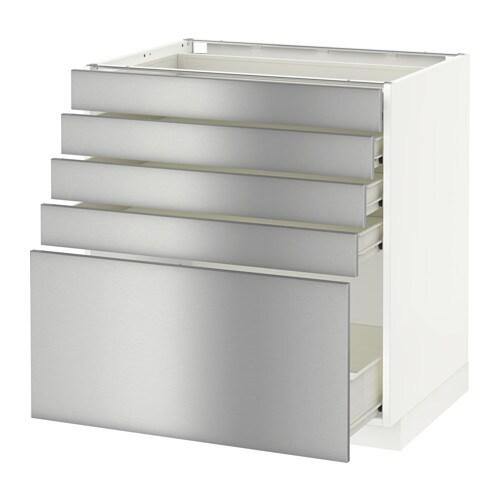 METOD FÖRVARA Bänkskåp med 5 lådor vit, Grevsta rostfritt stål, 80×60 cm IKEA