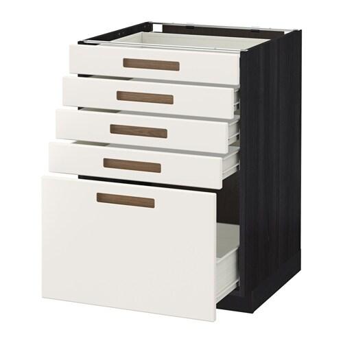 METOD FÖRVARA Bänkskåp med 5 lådor trämönstrad svart, Märsta vit, 60×60 cm IKEA