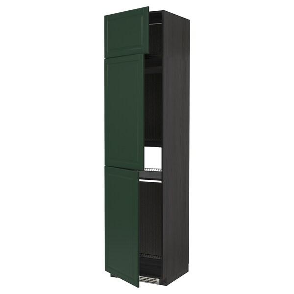 METOD högskåp för kyl/frys + 3 dörrar svart/Bodbyn mörkgrön 60.0 cm 61.9 cm 248.0 cm 60.0 cm 240.0 cm