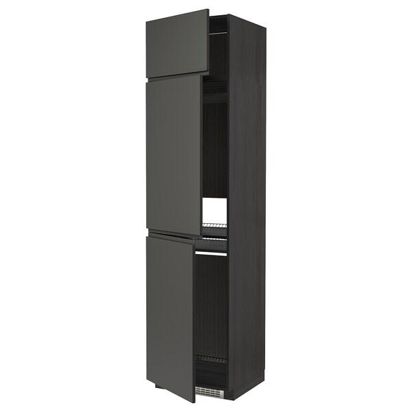 METOD Högskåp för kyl/frys + 3 dörrar, svart/Voxtorp mörkgrå, 60x60x240 cm