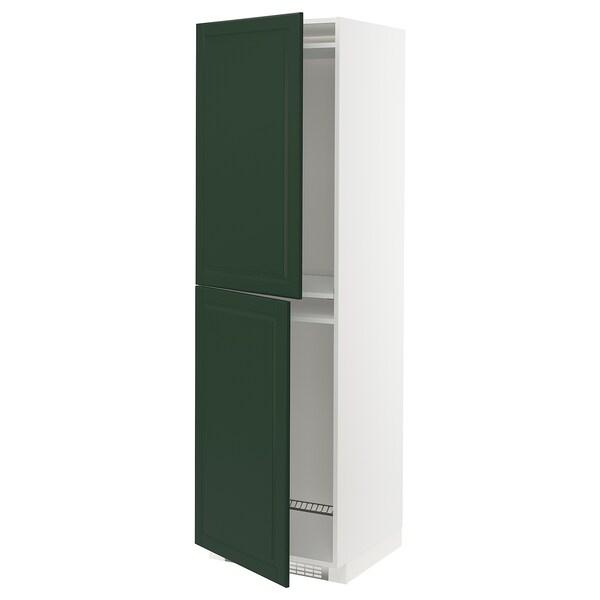 METOD Högskåp för kyl/frys, vit/Bodbyn mörkgrön, 60x60x200 cm