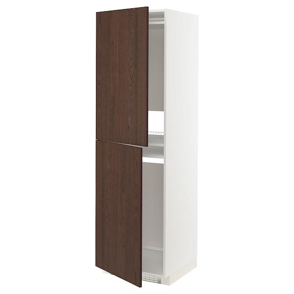 METOD Högskåp för kyl/frys, vit/Sinarp brun, 60x60x200 cm