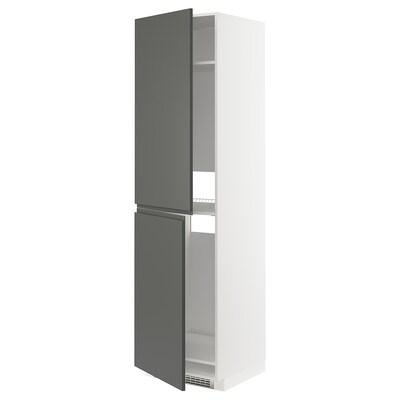 METOD Högskåp för kyl/frys, vit/Voxtorp mörkgrå, 60x60x220 cm