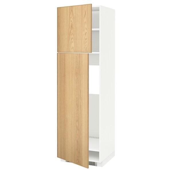 METOD Högskåp för kylskåp med 2 dörrar, vit/Ekestad ek, 60x60x200 cm