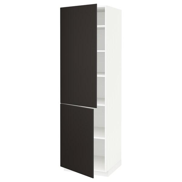 METOD Högskåp med hyllplan/2 dörrar, vit/Kungsbacka antracit, 60x60x200 cm