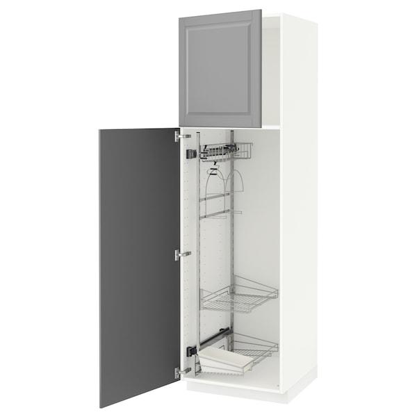 METOD Högskåp med städskåpsinredning, vit/Bodbyn grå, 60x60x200 cm