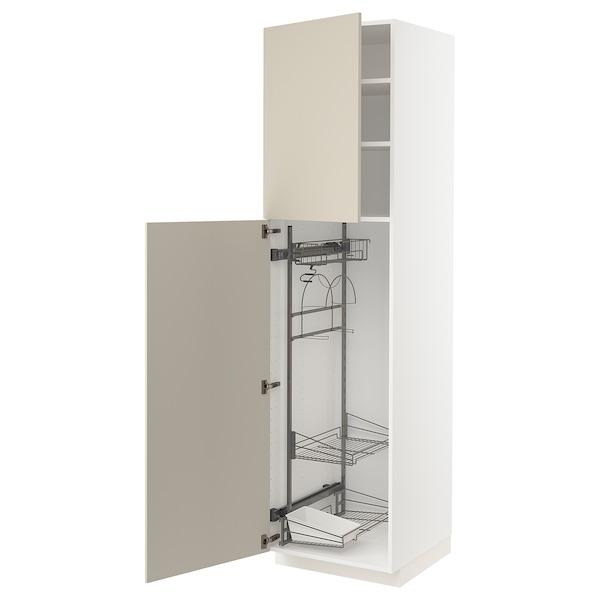 METOD Högskåp med städskåpsinredning, vit/Havstorp beige, 60x60x220 cm
