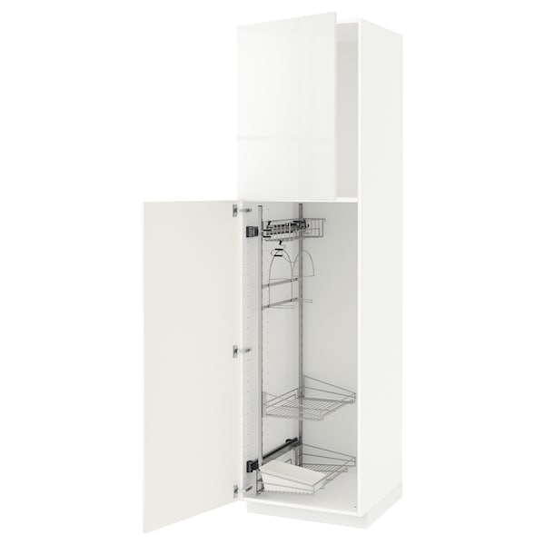 METOD Högskåp med städskåpsinredning, vit/Ringhult vit, 60x60x220 cm