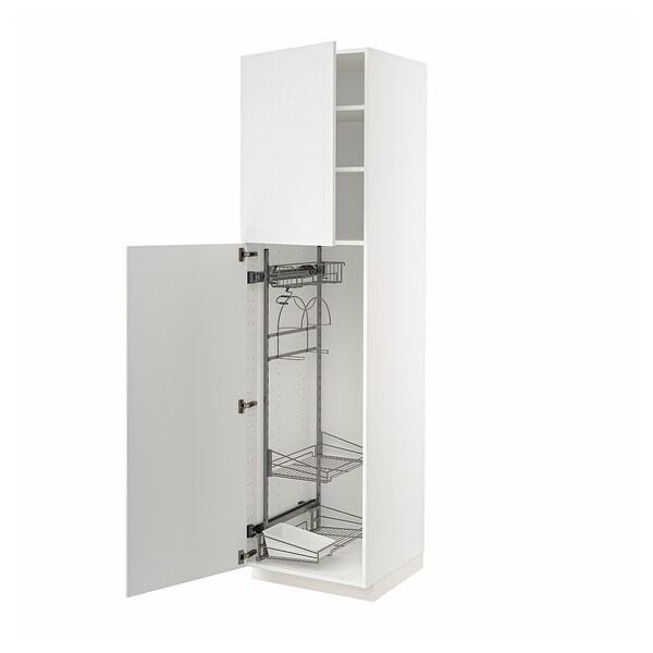 METOD Högskåp med städskåpsinredning, vit/Stensund vit, 60x60x220 cm