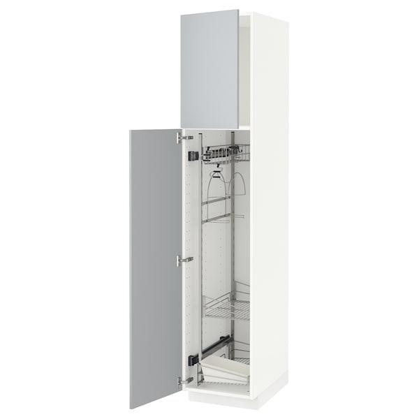 METOD Högskåp med städskåpsinredning, vit/Veddinge grå, 40x60x200 cm