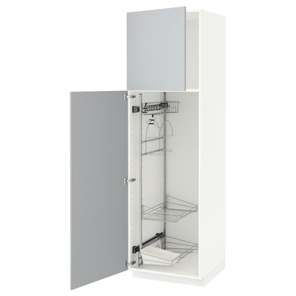 METOD Högskåp med städskåpsinredning, vit/Veddinge grå, 60x60x200 cm