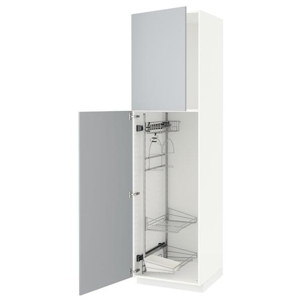 METOD Högskåp med städskåpsinredning, vit/Veddinge grå, 60x60x220 cm