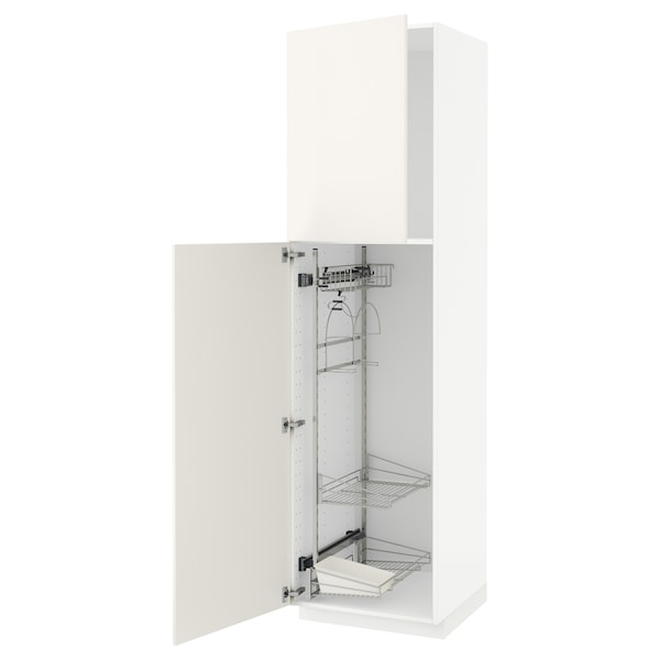 METOD Högskåp med städskåpsinredning, vit/Veddinge vit, 60x60x220 cm