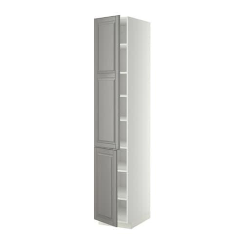 METOD Högskåp med hyllplan 2 dörrar vit, Bodbyn grå, 40x60x220 cm IKEA