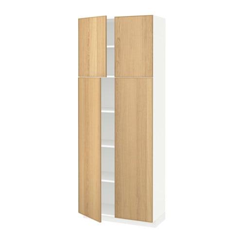 METOD Högskåp med hyllplan 4 dörrar vit, Ekestad ek, 80x37x200 cm IKEA