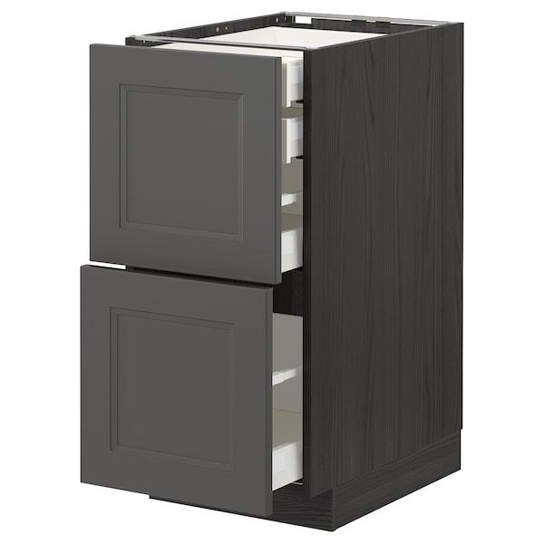 METOD / MAXIMERA Bänksk 2 frnt/2 låg/1 md/1 hög låda, svart/Axstad mörkgrå, 40x60 cm